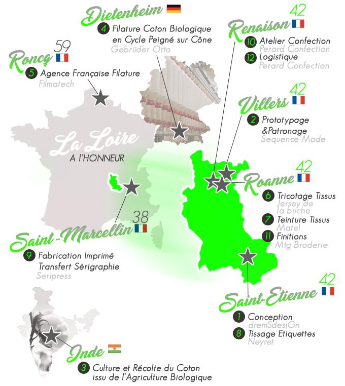 ★SE42  FABRIQUÉ EN FRANCE AVEC LE SAVOIR-FAIRE LOCAL DE LA LOIRE 42   -  Entièrement Tricoté, Teint, Confectionné, Brodé dans le Roannais et étiquettes fabriquées à Saint-Étienne.